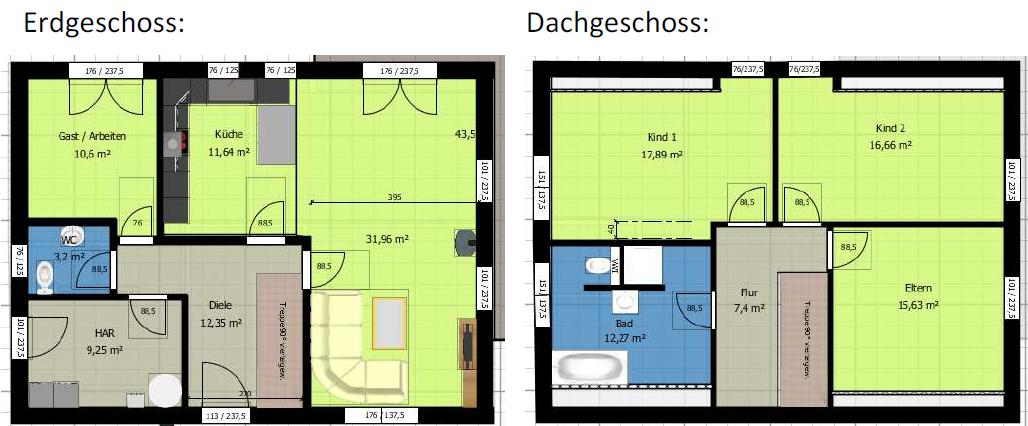 Grundrisse - Erdgeschoss & Obergeschoss