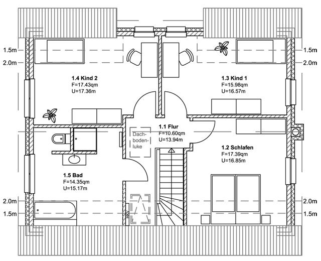 1. Entwurf - Grundriss Obergeschoss
