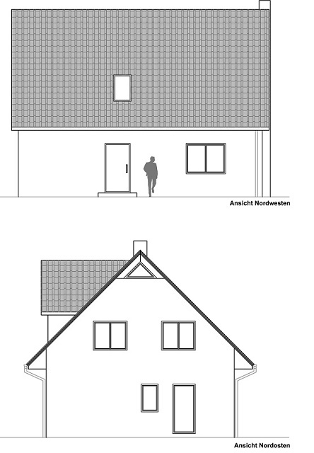 1. Entwurf für Grundrisse und Ansichten