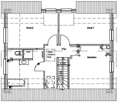 2. Entwurf - Grundriss Dachgeschoss