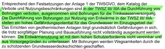 TWSGVO - Bohrung - Erdwärme verboten